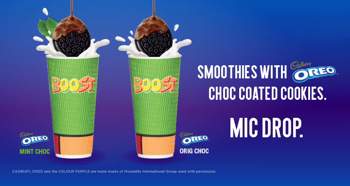 Smoothies with OREO® Cadbury coated cookies!